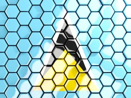 lucia: Flag of saint lucia, hexagon mosaic background. 3D illustration
