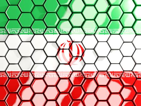 iran mosaic: Flag of iran, hexagon mosaic background. 3D illustration Stock Photo