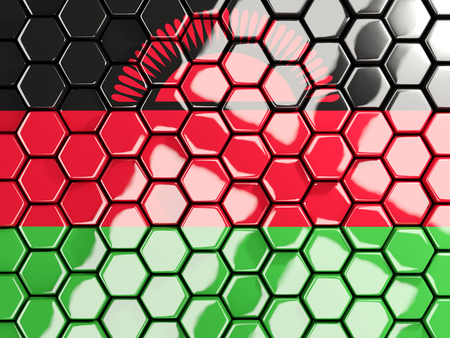 Flag of malawi, hexagon mosaic background. 3D illustration
