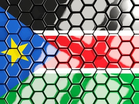 Flag of south sudan, hexagon mosaic background. 3D illustration