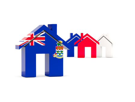 cayman: Flag of cayman islands, home icon isolated on white. 3D illustration Stock Photo