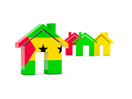 principe: Bandera de Santo Tomé y Príncipe, el icono de inicio aislado en blanco. ilustración 3D