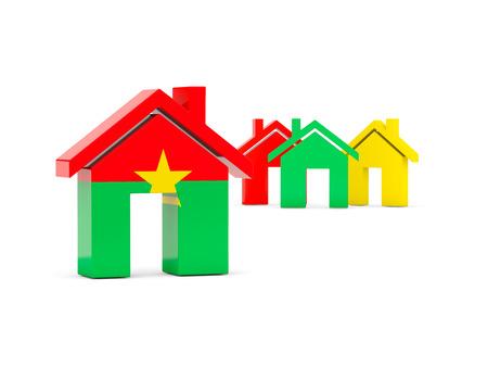 Flag of burkina faso, home icon isolated on white. 3D illustration