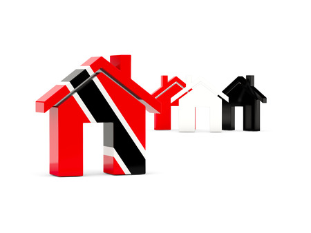 Flag of trinidad and tobago, home icon isolated on white. 3D illustration Stock Photo