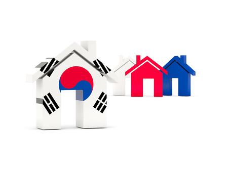 korea flag: Flag of south korea, home icon isolated on white. 3D illustration