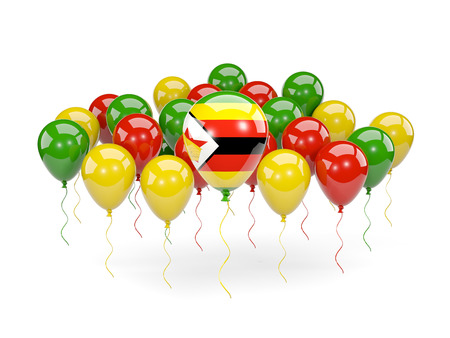 Flag of zimbabwe, with balloons isolated on white. 3D illustration Stock Photo