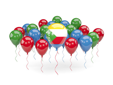 Flag of comoros, with balloons isolated on white. 3D illustration