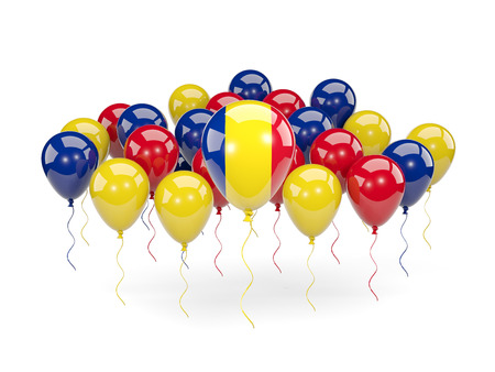 Flag of romania, with balloons isolated on white. 3D illustration
