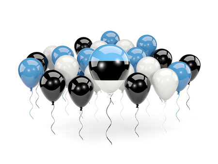 Flag of estonia, with balloons isolated on white. 3D illustration