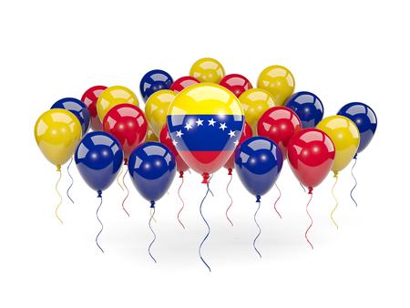 bandera de venezuela: Flag of venezuela, with balloons isolated on white. 3D illustration