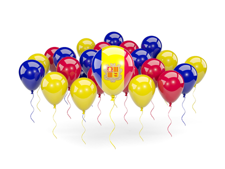 Flag of andorra, with balloons isolated on white. 3D illustration