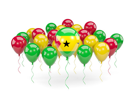 Flag of sao tome and principe, with balloons isolated on white. 3D illustration