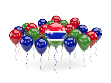 Flag of gambia, with balloons isolated on white. 3D illustration Stock Photo