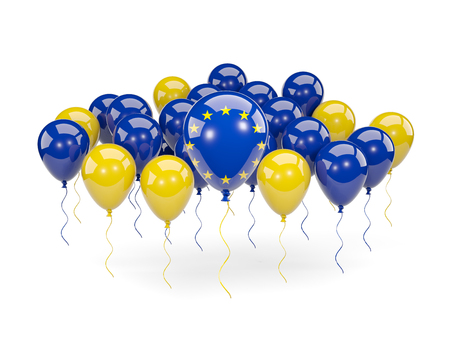 Flag of european union, with balloons isolated on white. 3D illustration