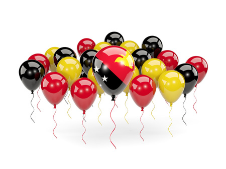 Flag of papua new guinea, with balloons isolated on white. 3D illustration