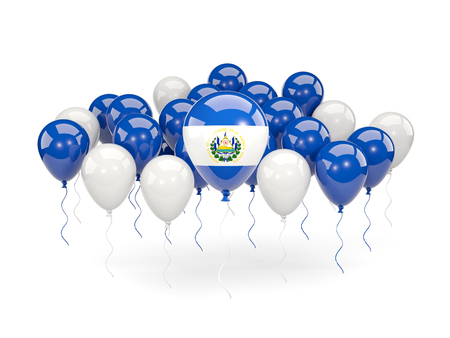 bandera de el salvador: Flag of el salvador, with balloons isolated on white. 3D illustration