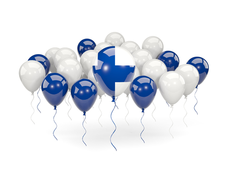 Flag of finland, with balloons isolated on white. 3D illustration Stock Photo