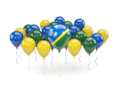 Flag of solomon islands, with balloons isolated on white. 3D illustration