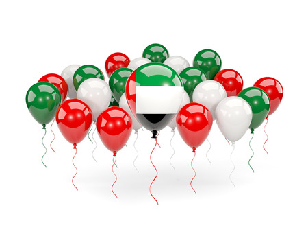 Flag of united arab emirates, with balloons isolated on white. 3D illustration