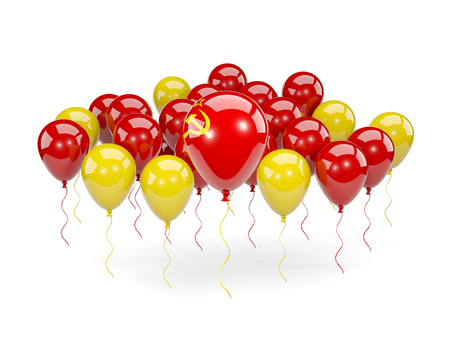 Flag of ussr, with balloons isolated on white. 3D illustration Stock Photo
