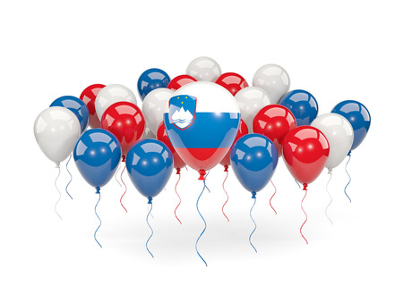 Flag of slovenia, with balloons isolated on white. 3D illustration