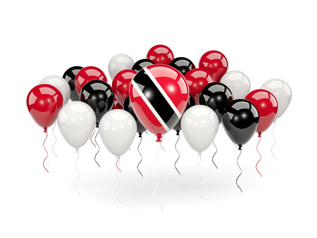 Flag of trinidad and tobago, with balloons isolated on white. 3D illustration