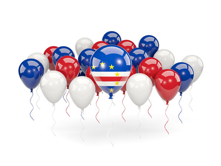 Flag of cape verde, with balloons isolated on white. 3D illustration