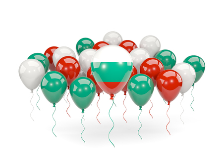 Flag of bulgaria, with balloons isolated on white. 3D illustration Stock Photo