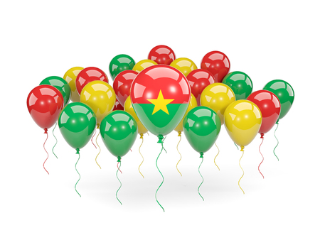 Flag of burkina faso, with balloons isolated on white. 3D illustration Stock Photo