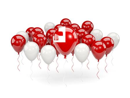 tonga: Flag of tonga, with balloons isolated on white. 3D illustration