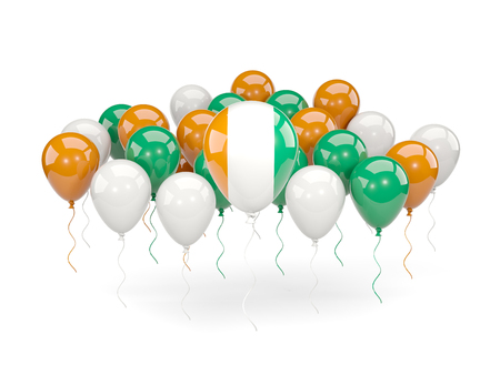Flag of cote d Ivoire, with balloons isolated on white. 3D illustration