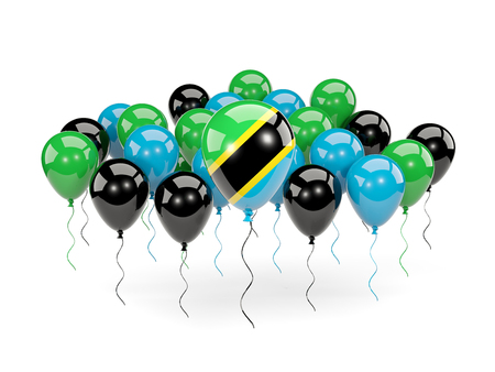 Flag of tanzania, with balloons isolated on white. 3D illustration Stock Photo