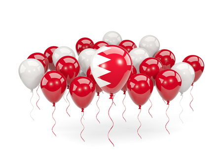 Flag of bahrain, with balloons isolated on white. 3D illustration Stock Photo