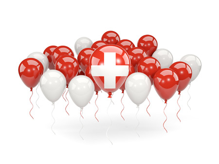 Flag of switzerland, with balloons isolated on white. 3D illustration