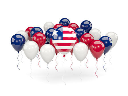Flag of liberia, with balloons isolated on white. 3D illustration Stock Photo