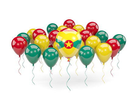 grenada: Flag of grenada, with balloons isolated on white. 3D illustration Stock Photo
