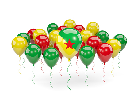 guiana: Flag of french guiana, with balloons isolated on white. 3D illustration Stock Photo