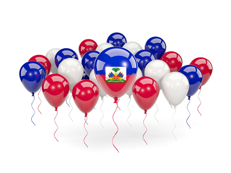 Flag of haiti, with balloons isolated on white. 3D illustration Stock Photo