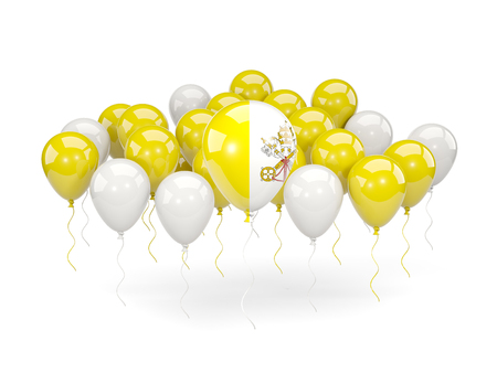 Flag of vatican city, with balloons isolated on white. 3D illustration Stock Photo