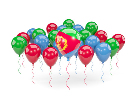 Flag of eritrea, with balloons isolated on white. 3D illustration Stock Photo