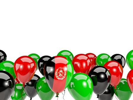 Flag of afghanistan, with balloons isolated on white. 3D illustration Stock Photo