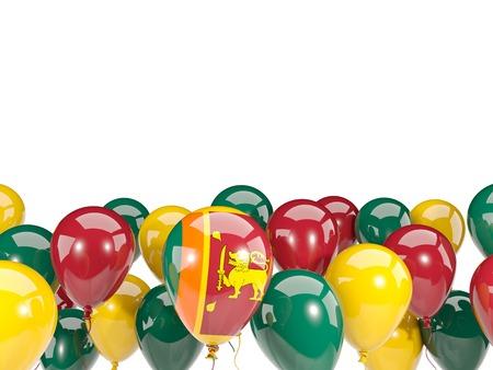 Flag of sri lanka, with balloons isolated on white. 3D illustration