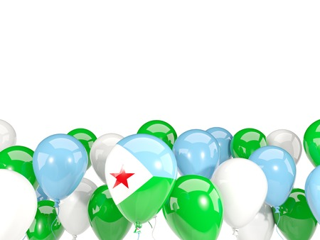 djibouti: Flag of djibouti, with balloons isolated on white. 3D illustration