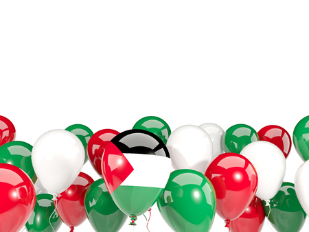 Flag of palestinian territory, with balloons isolated on white. 3D illustration Stock Photo