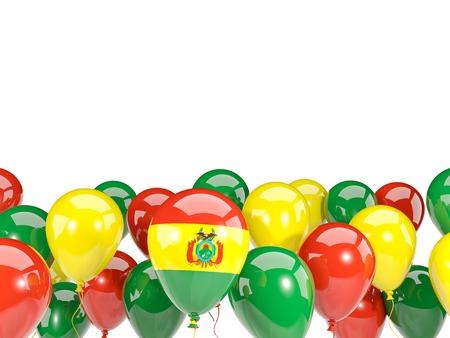 Bandera de bolivia, con globos aislados en blanco. Ilustración 3D
