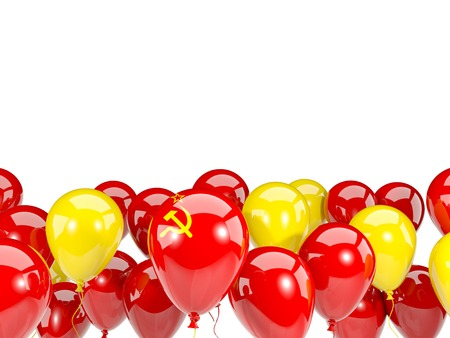 the ussr: Flag of ussr, with balloons isolated on white. 3D illustration Stock Photo