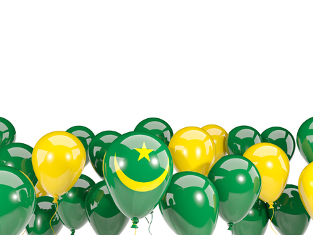 mauritania: Flag of mauritania, with balloons isolated on white. 3D illustration