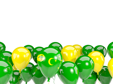 cocos: Flag of cocos islands, with balloons isolated on white. 3D illustration