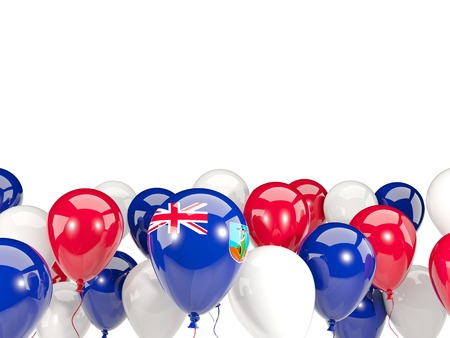 Flag of montserrat, with balloons isolated on white. 3D illustration