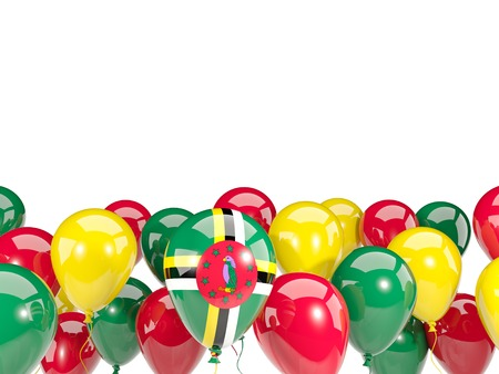 Flag of dominica, with balloons isolated on white. 3D illustration
